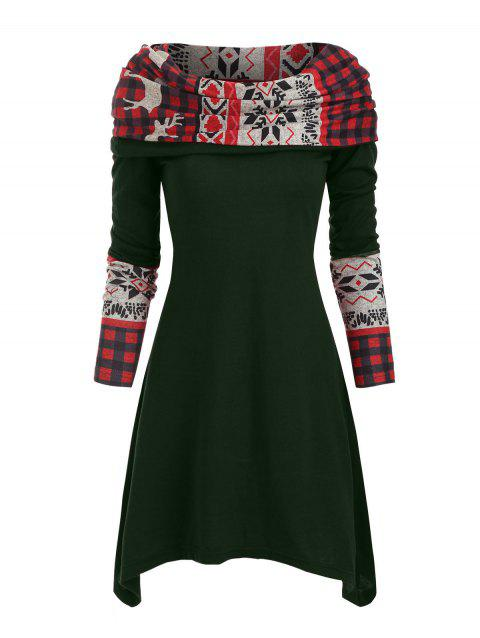 Elk Plaid Knitted Multiway Asymmetrical Dress
