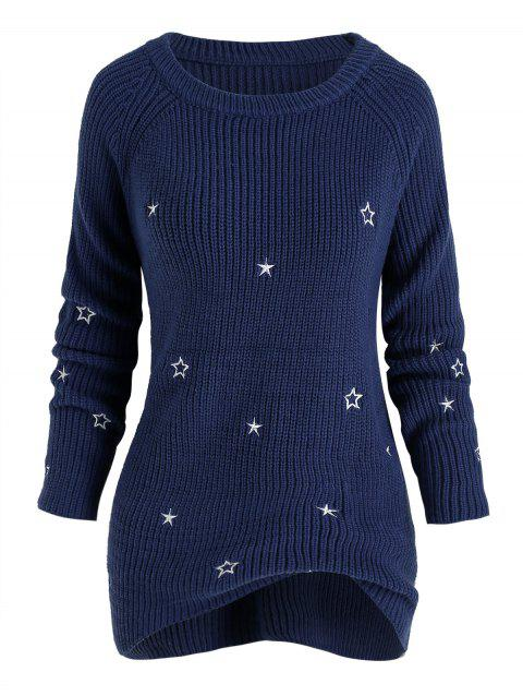 Plus Size Star Embroidered Raglan Sleeve Sweater