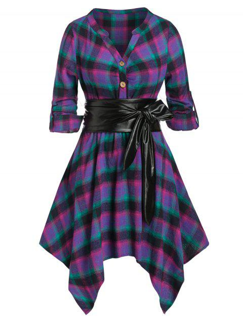 Plus Size Plaid Handkerchief Roll Up Sleeve Shirt Dress