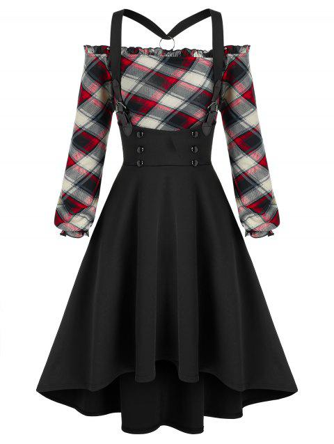 Plaid  Off The Shoulder Top and High Low Suspender Skirt Set