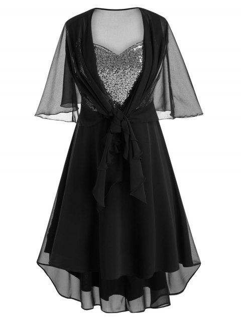 Plus Size Sequin Asymmetric Dress With Mesh Capelet