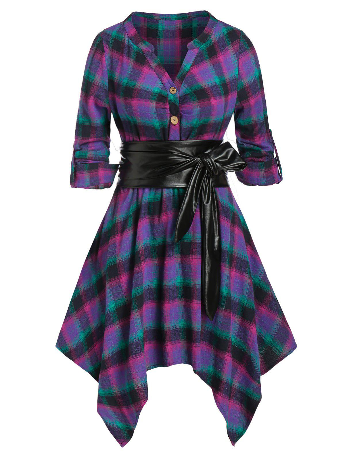 Plus Size Plaid Handkerchief Roll Up Sleeve Shirt Dress - PURPLE 5X