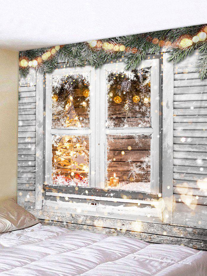 Christmas Printed Wood Window Wall Tapestry - GRAY CLOUD W91 X L71 INCH