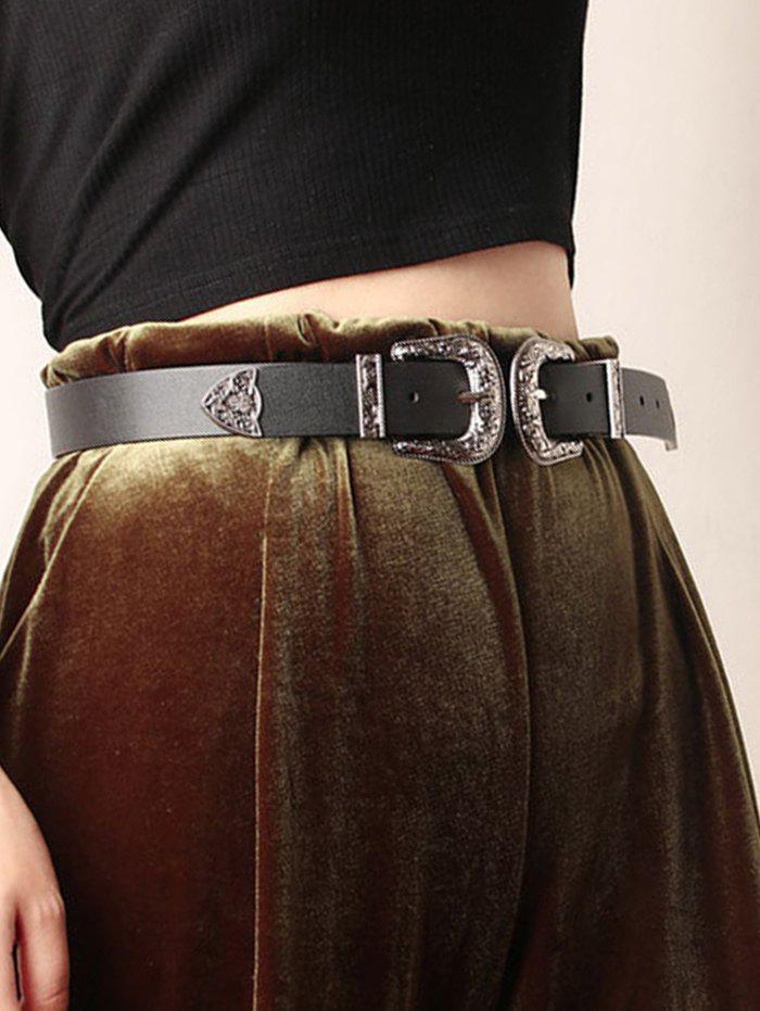 Retro Carved Double Buckle Western Belt - BLACK
