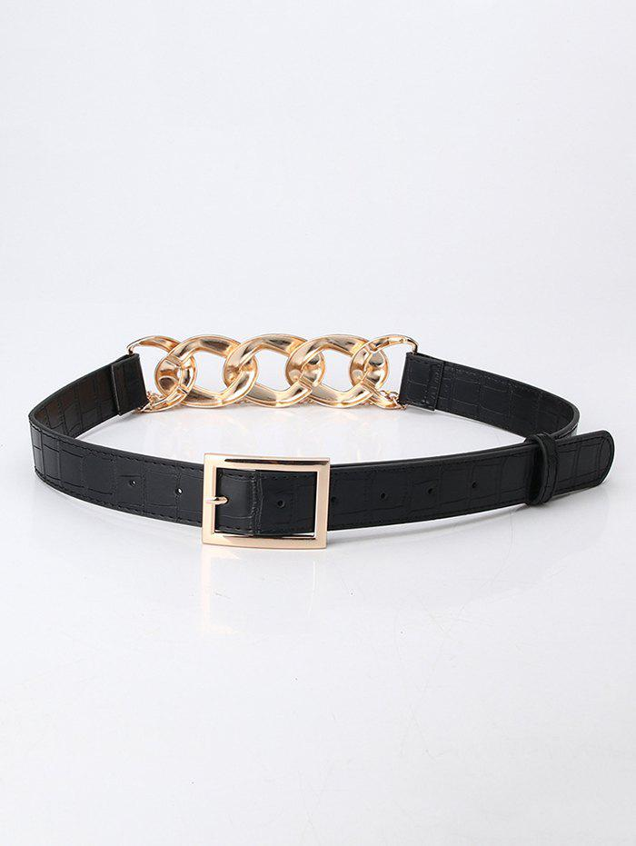 Punk Layered Chain Joint Geo Buckle Belt - BLACK