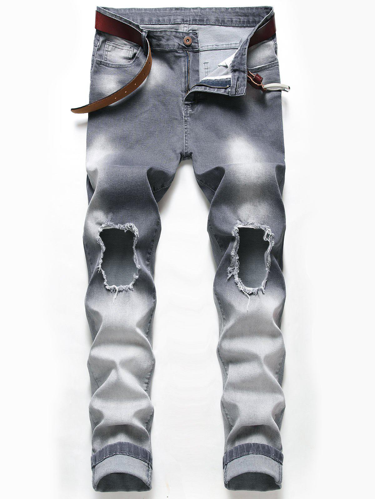 Distressed Ripped Faded Wash Jeans - CARBON GRAY 34