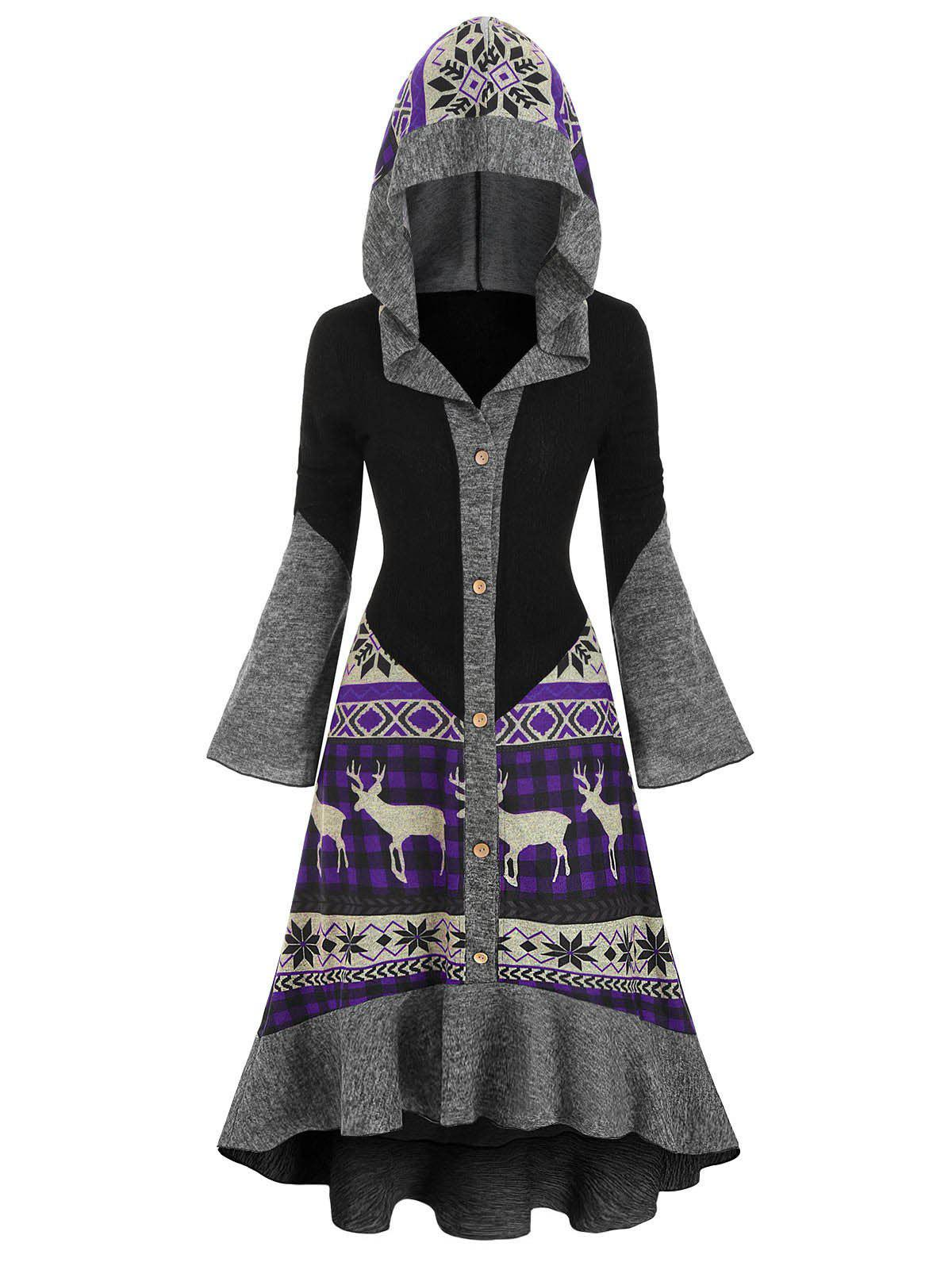 Christmas Elk Hooded High Low Flounce Hem Knitted Dress - multicolor D 3XL