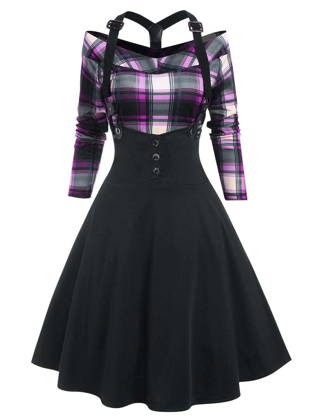 Plaid Y Line Back Suspender Skirt Set - MAUVE XL