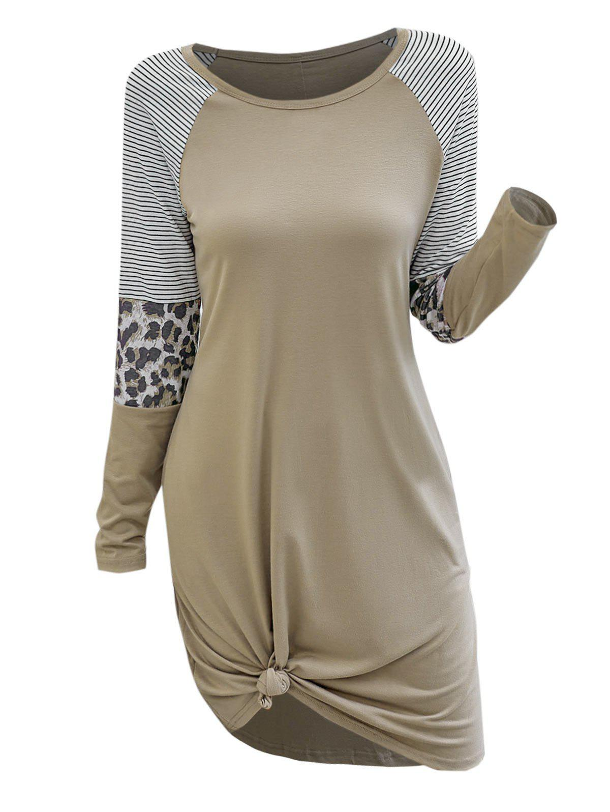 Casual Stripes Leopard Panel Tee Dress - LIGHT COFFEE S