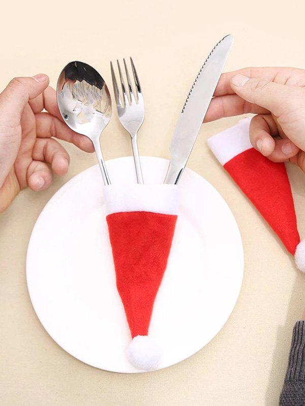 Christmas Hat Shape Knife And Fork Tableware Cover - RED