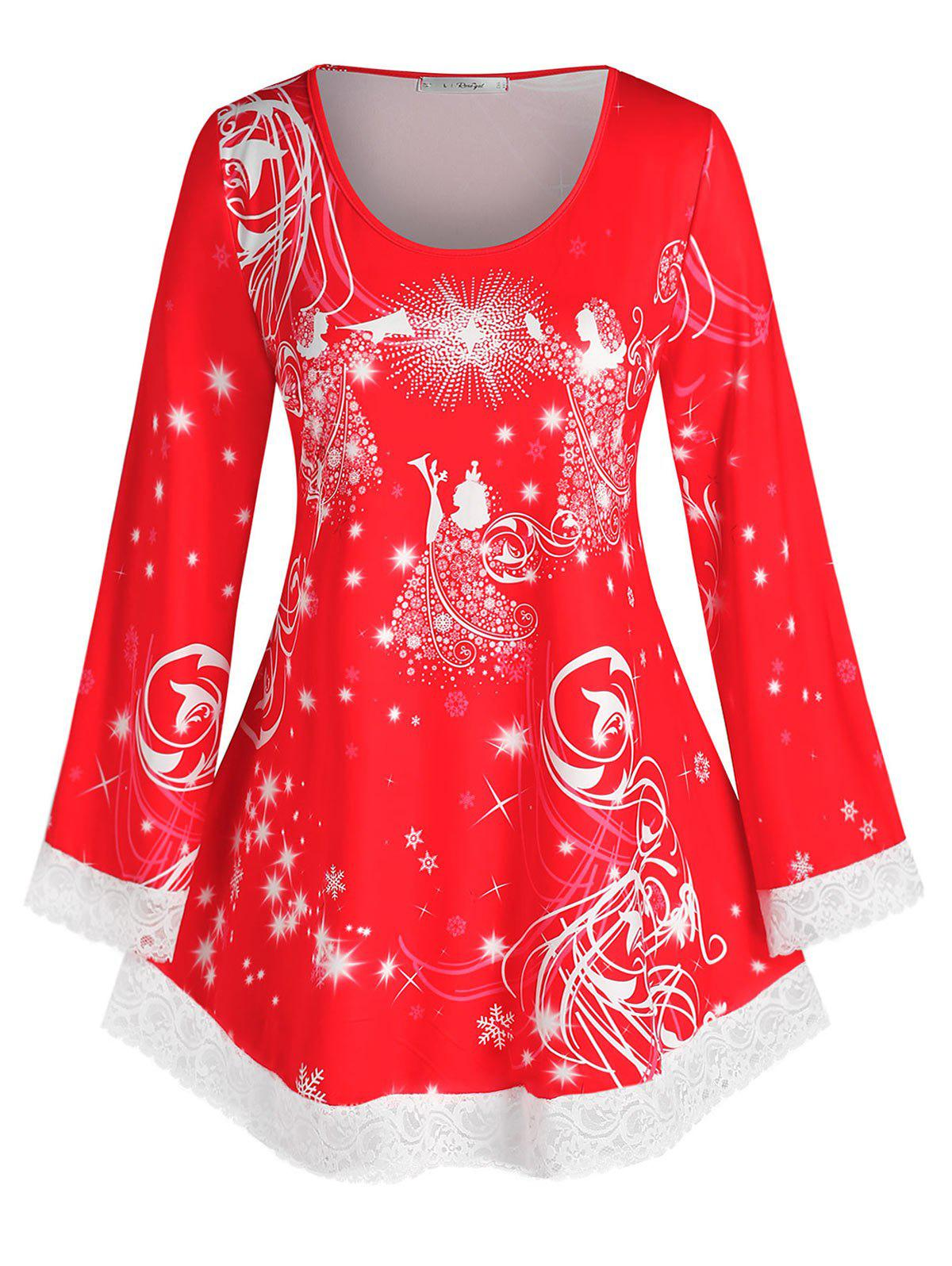Plus Size Christmas Snowflake Lace Hem Long Sleeve Tee - RED 4X