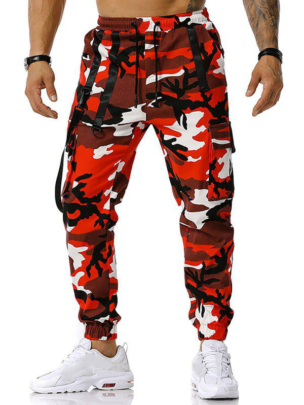 Drawstring Camouflage Print Strap Cargo Pants - RED XL