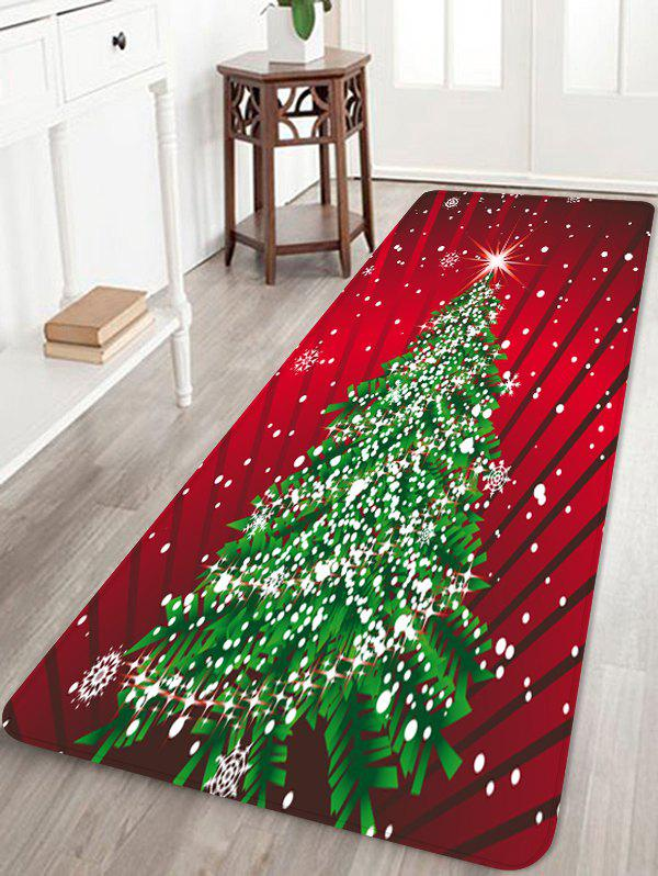 Christmas Tree Printing Floor Mat - CHERRY RED W16 X L47 INCH