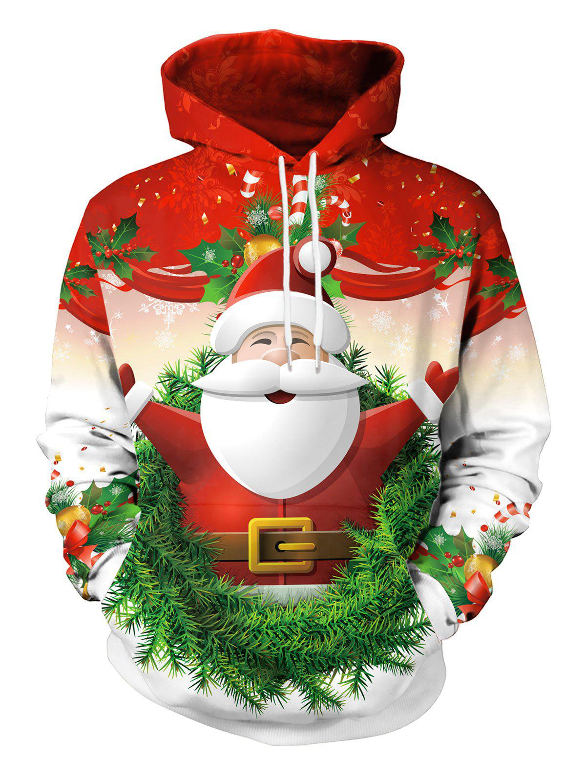 Christmas Santa Claus Candy Pattern Hoodie - RED XXL