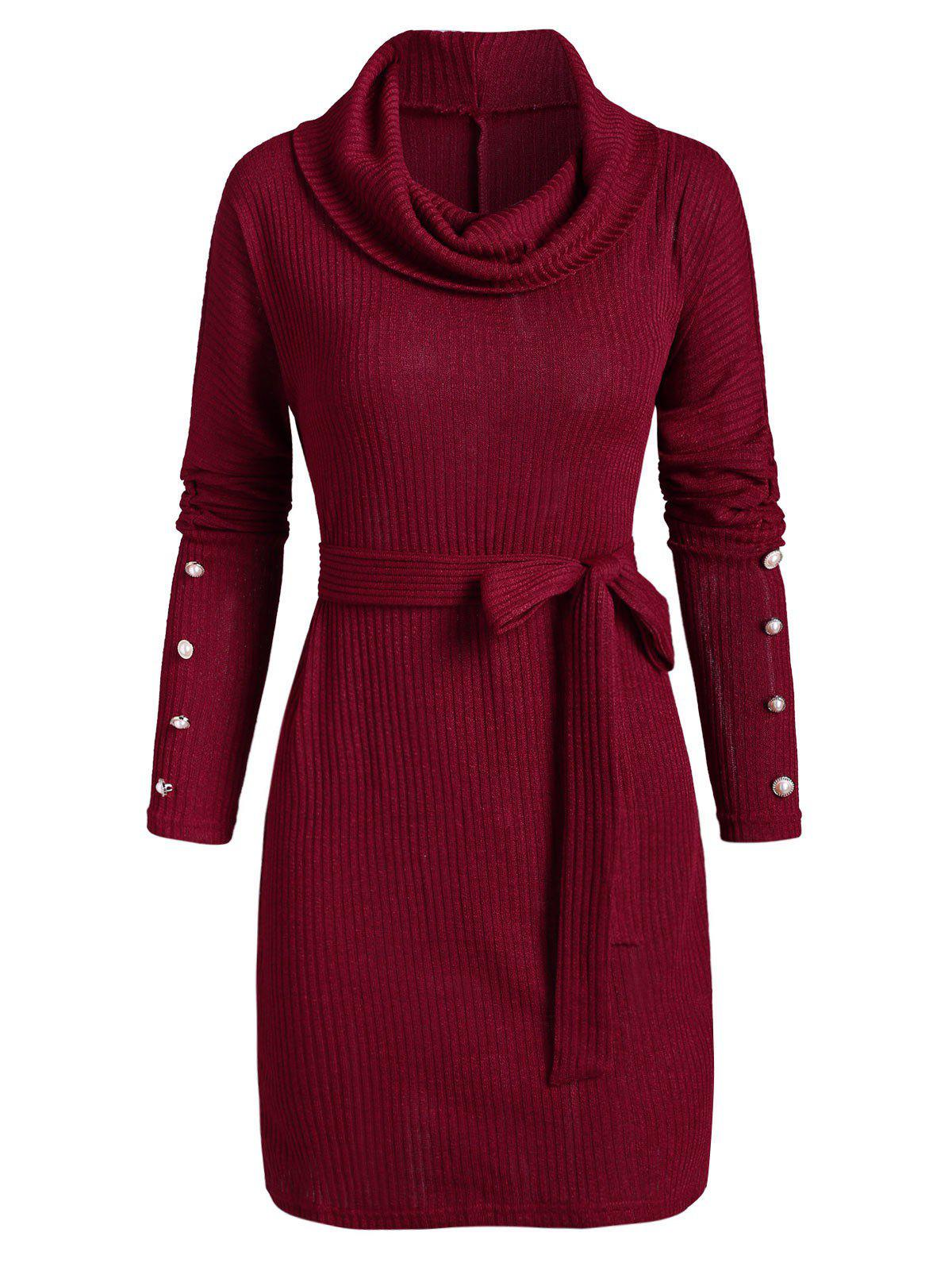 Cowl Neck Button Cuff Belted Sweater Dress - RED L