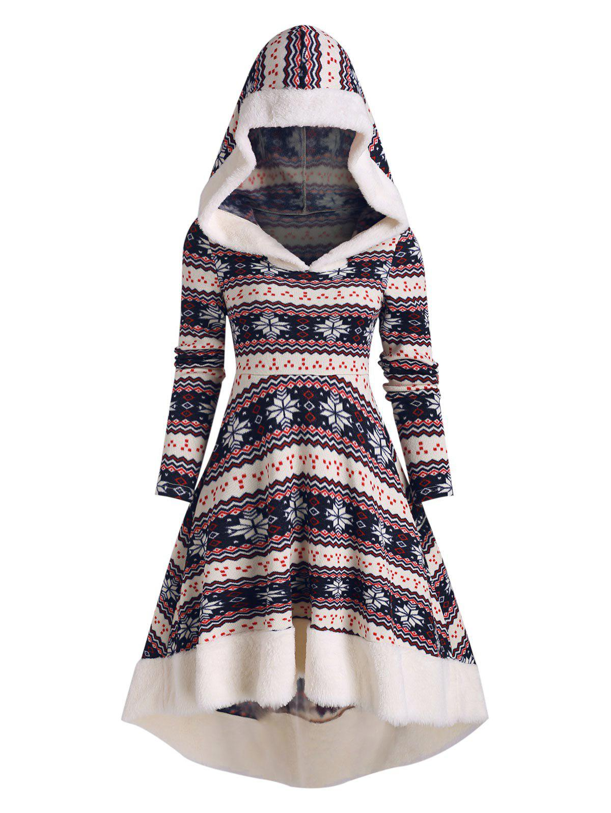 Christmas Printed Hooded High Low Dress - multicolor A 3XL