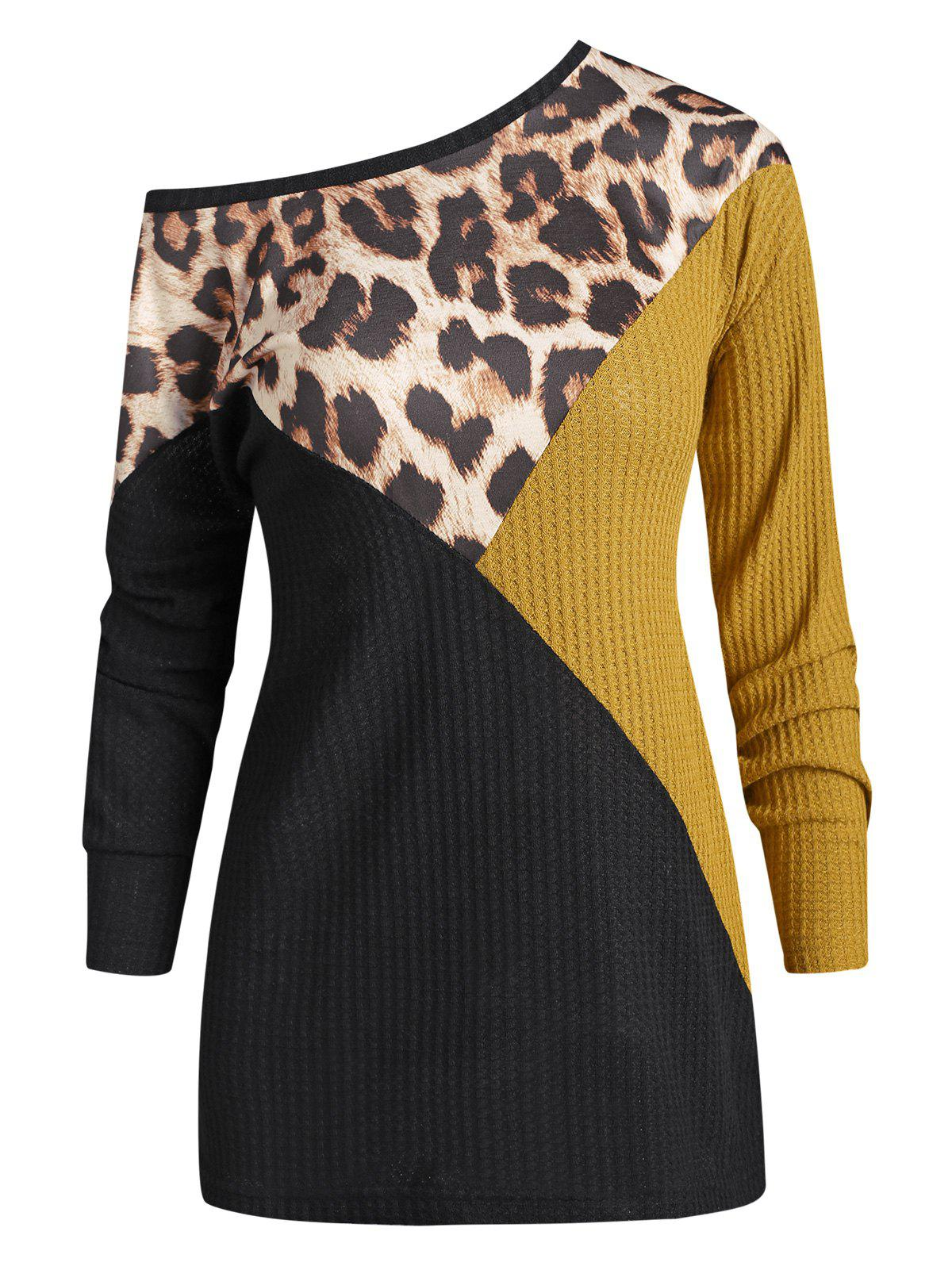 Leopard Contrast Mixed Media Drop Shoulder Knitwear - BLACK M