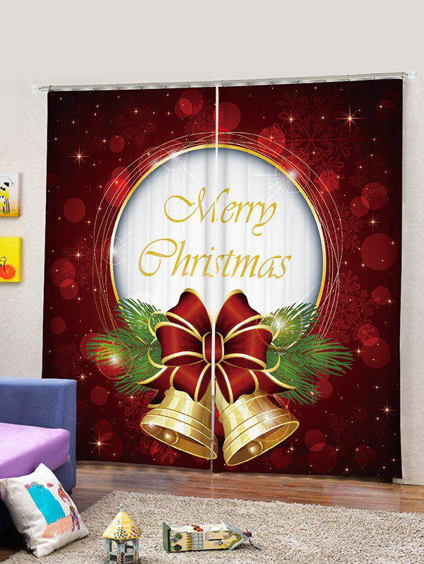 2 Panels Christmas Letter Bell Print Window Curtains - RED WINE W30 X L65 INCH X 2PCS