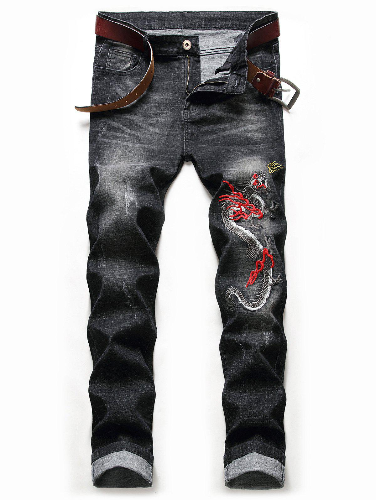 Embroidery Dragon Scratch Jeans - NIGHT 32