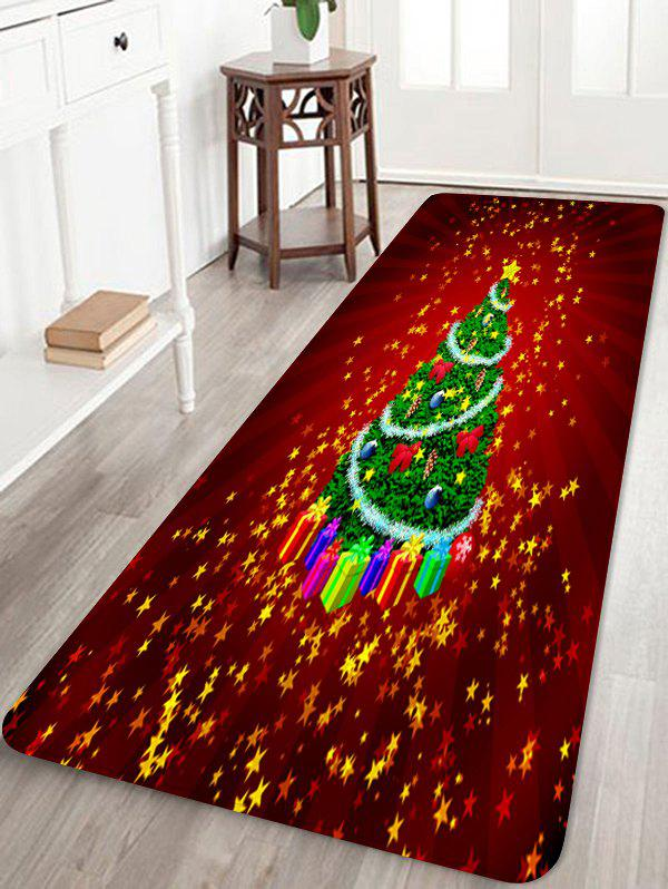 Christmas Tree Stars Rug - CHERRY RED W16 X L47 INCH