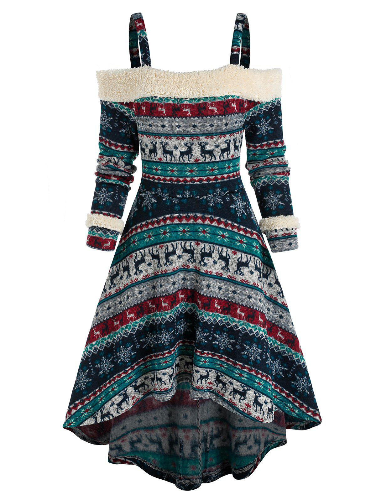 Tribal Print Cold Shoulder High Low Dress - DEEP BLUE M