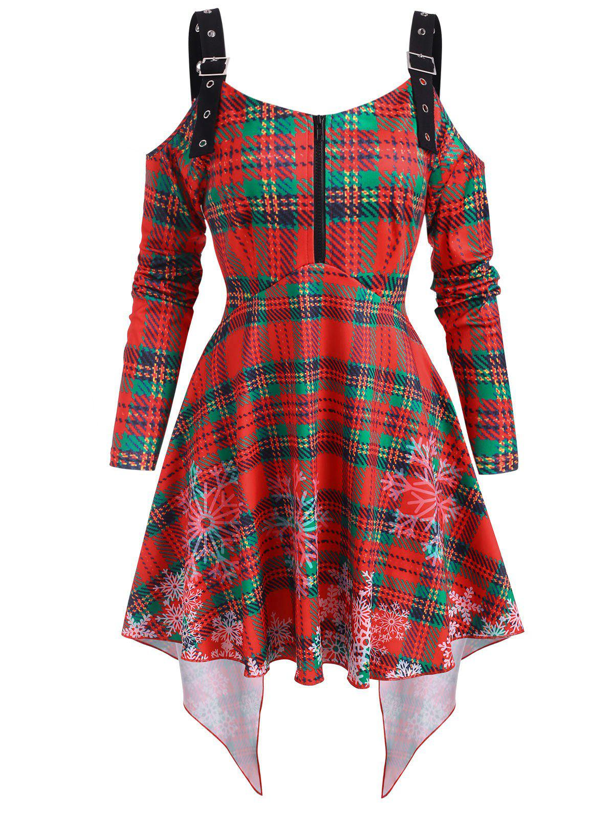 Christmas Plaid Snowflake Cold Shoulder High Low Top - RED XXXL