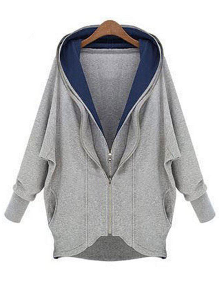 Hooded Double Zip High Low Pockets Jacket - GRAY L