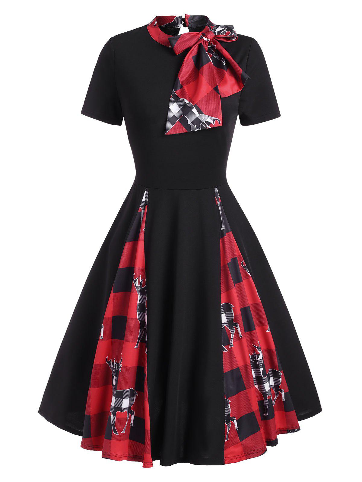 Christmas Plaid Elk Print Bowknot Fit and Flare Dress - BLACK L