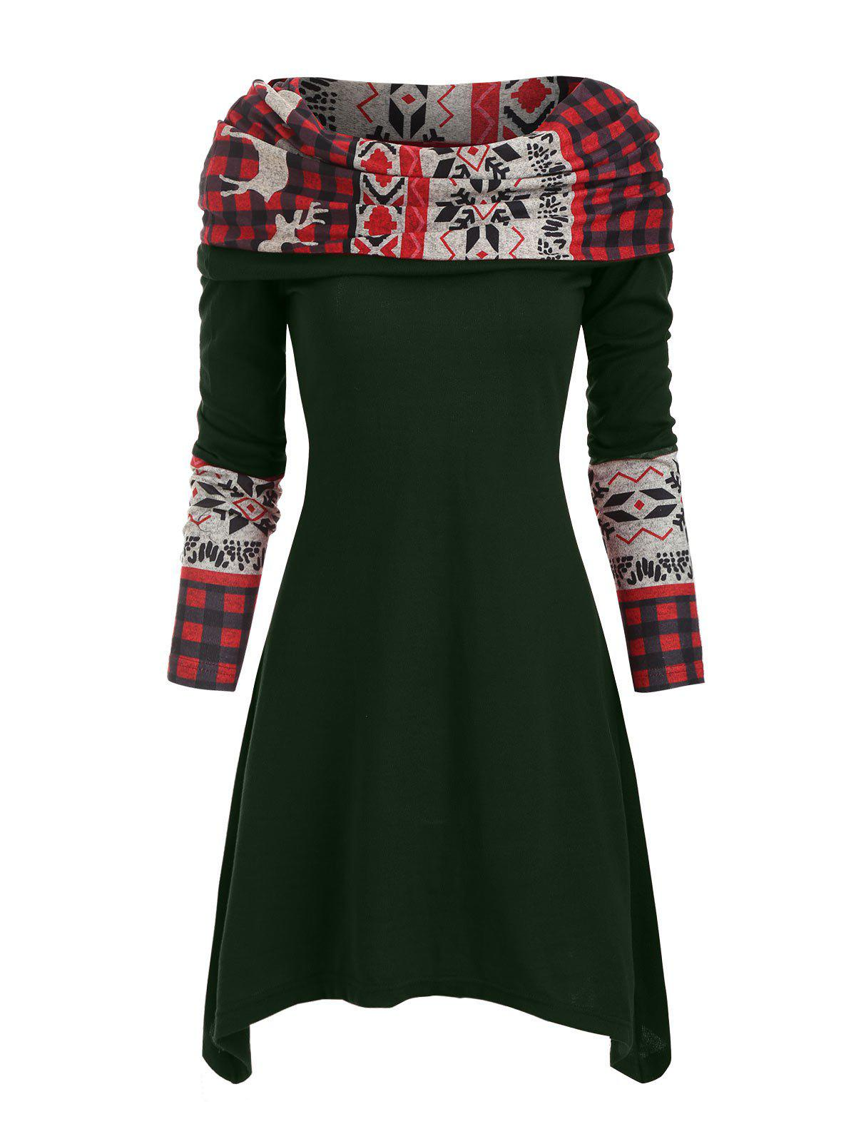 Elk Plaid Knitted Multiway Asymmetrical Dress - DARK GREEN S