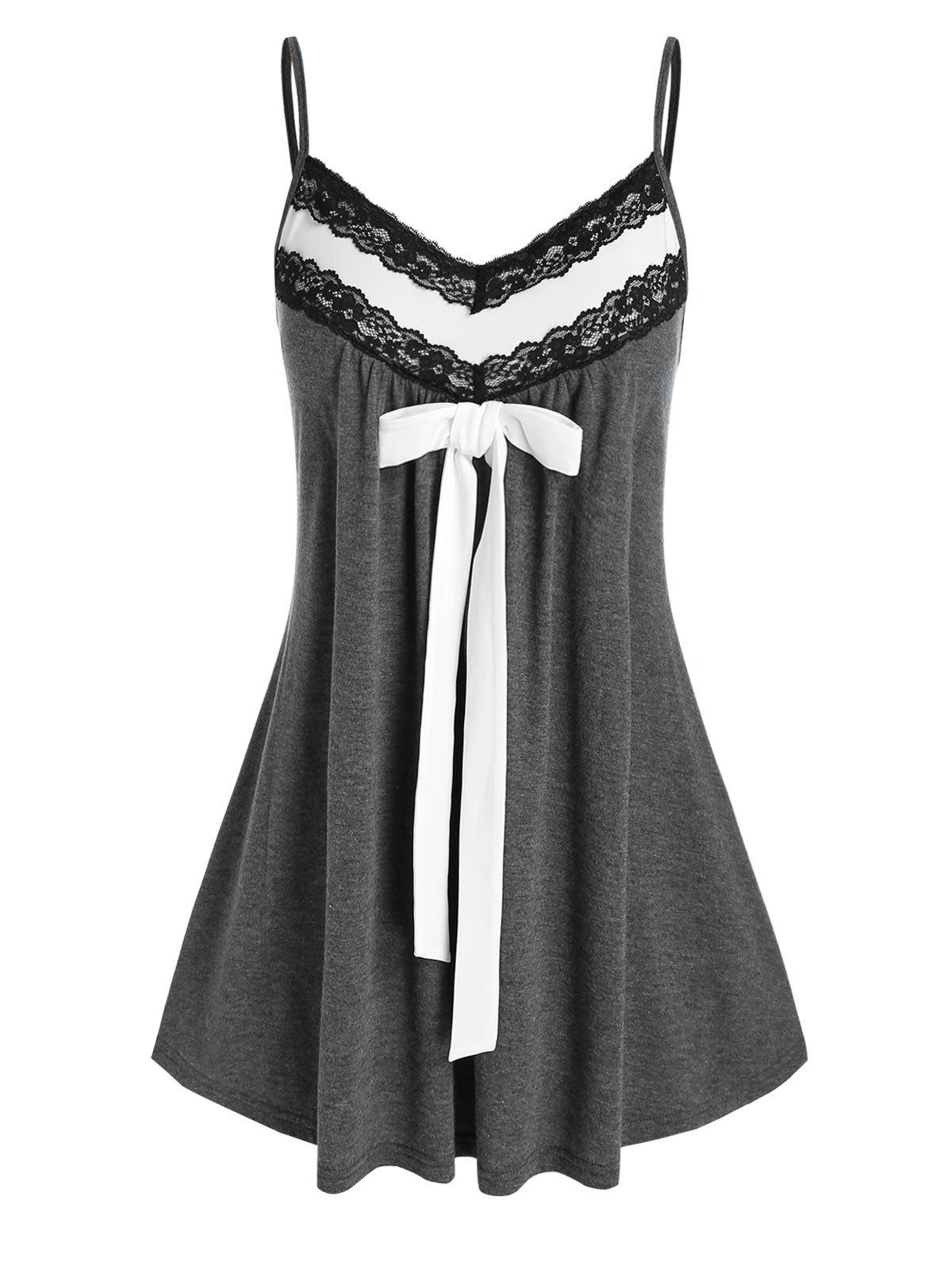 Plus Size Lace Insert Knotted Cami Tank Top - CARBON GRAY 4X