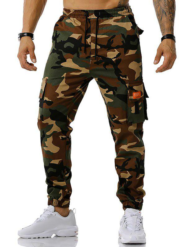 Text Applique Camouflage Print Cargo Pants - ARMY GREEN XXL