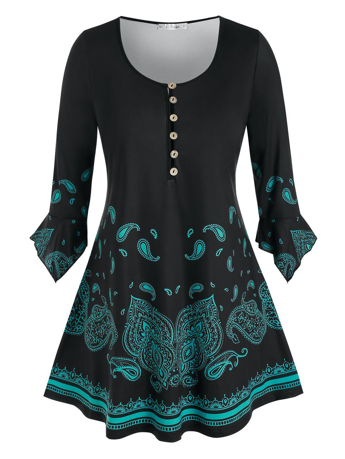 Plus Size Paisley Half Placket Hanky Ruffle Cuff Long Tee - BLACK 2X