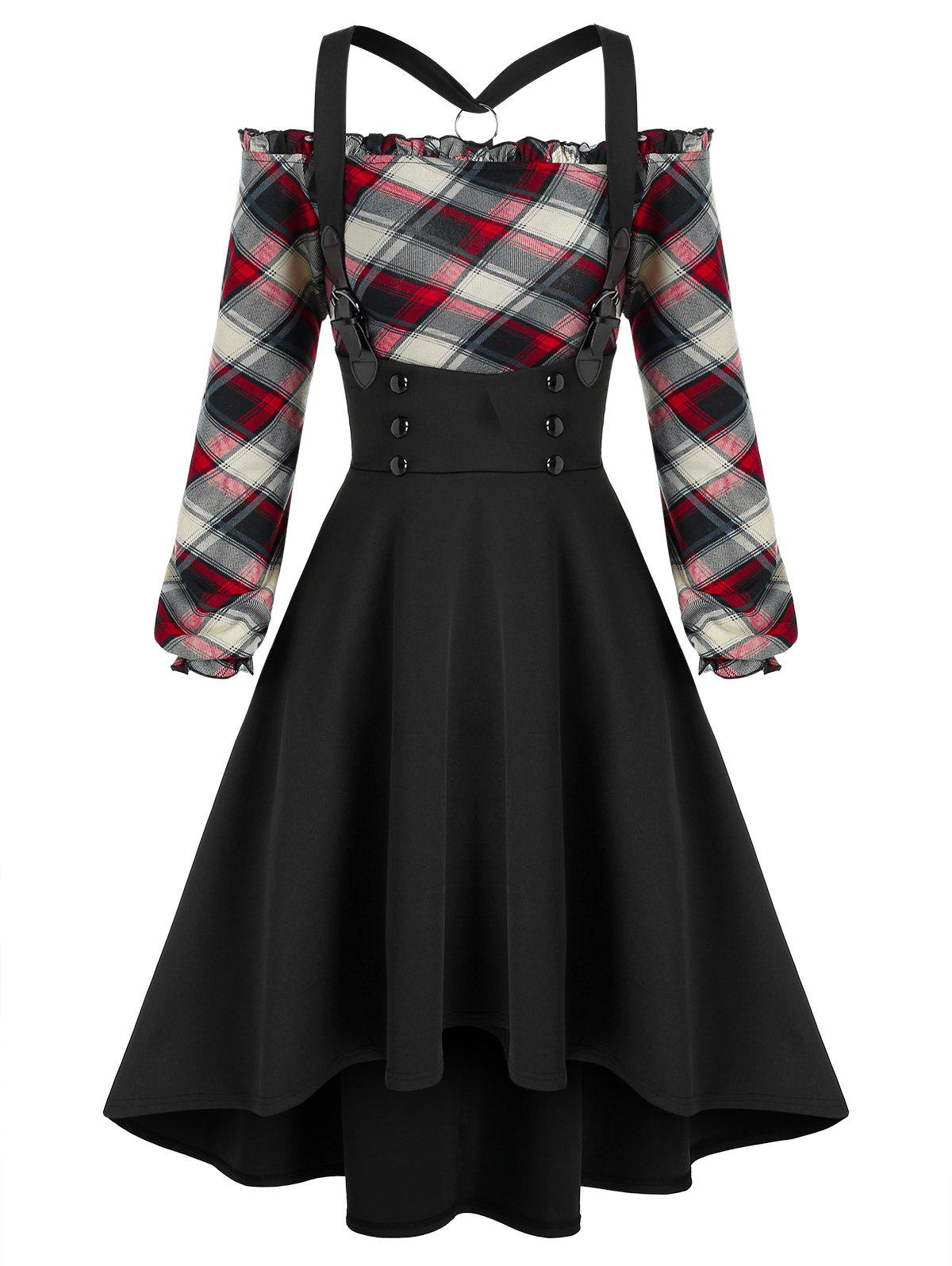 Plaid  Off The Shoulder Top and High Low Suspender Skirt Set - BLACK 3XL