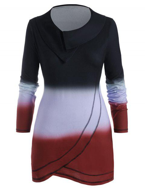 Ombre Contrast Stitching Cowl Neck Plus Size Top