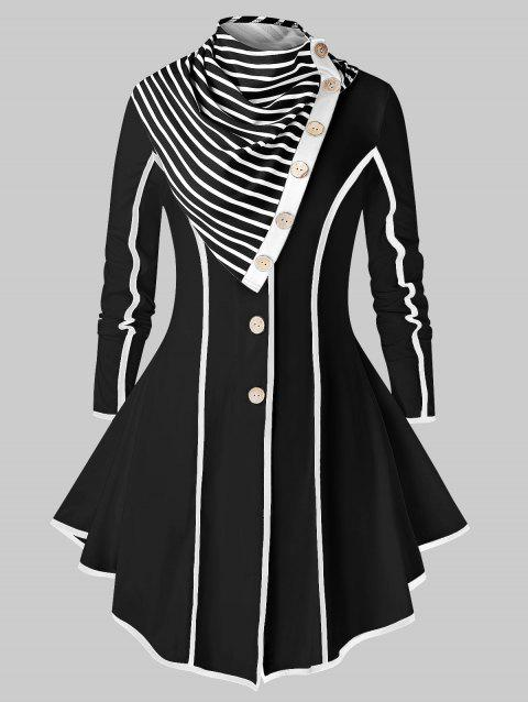 Plus Size Contrast Trim Single Breasted Skirted Coat With Scarf