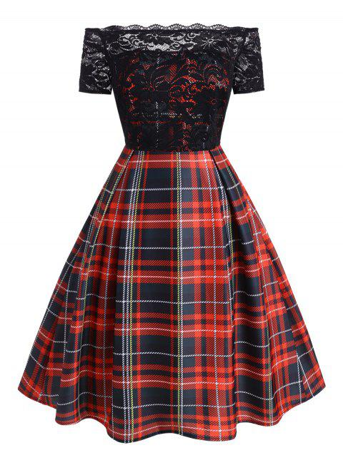 Plus Size Lace Panel Off Shoulder Plaid Dress