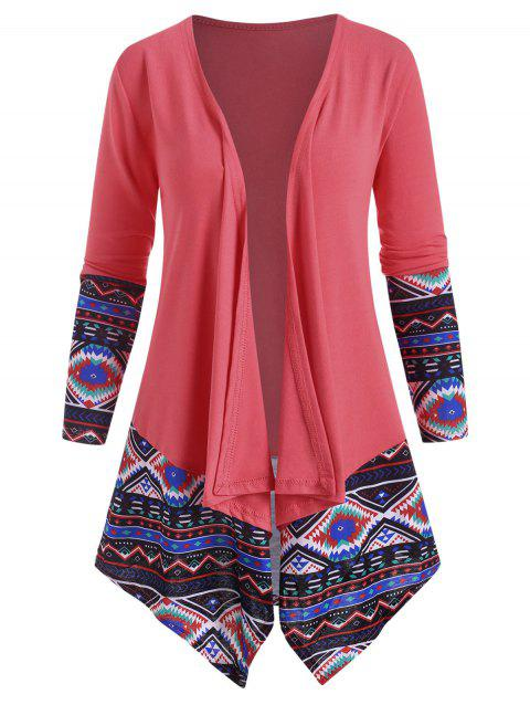 Ethnic Printed Draped Front Jacket