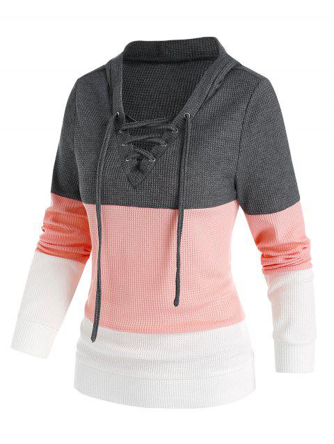 Leisure Lace Up Colorblock Hoodie