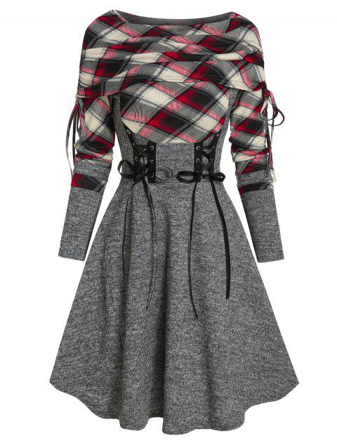 Plaid Print Lace-up Cinched Sweater Dress