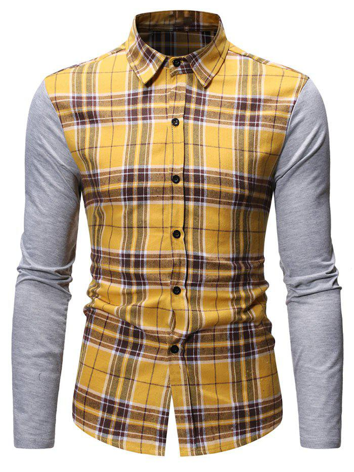Button Up Plaid Print Casual Shirt - YELLOW L