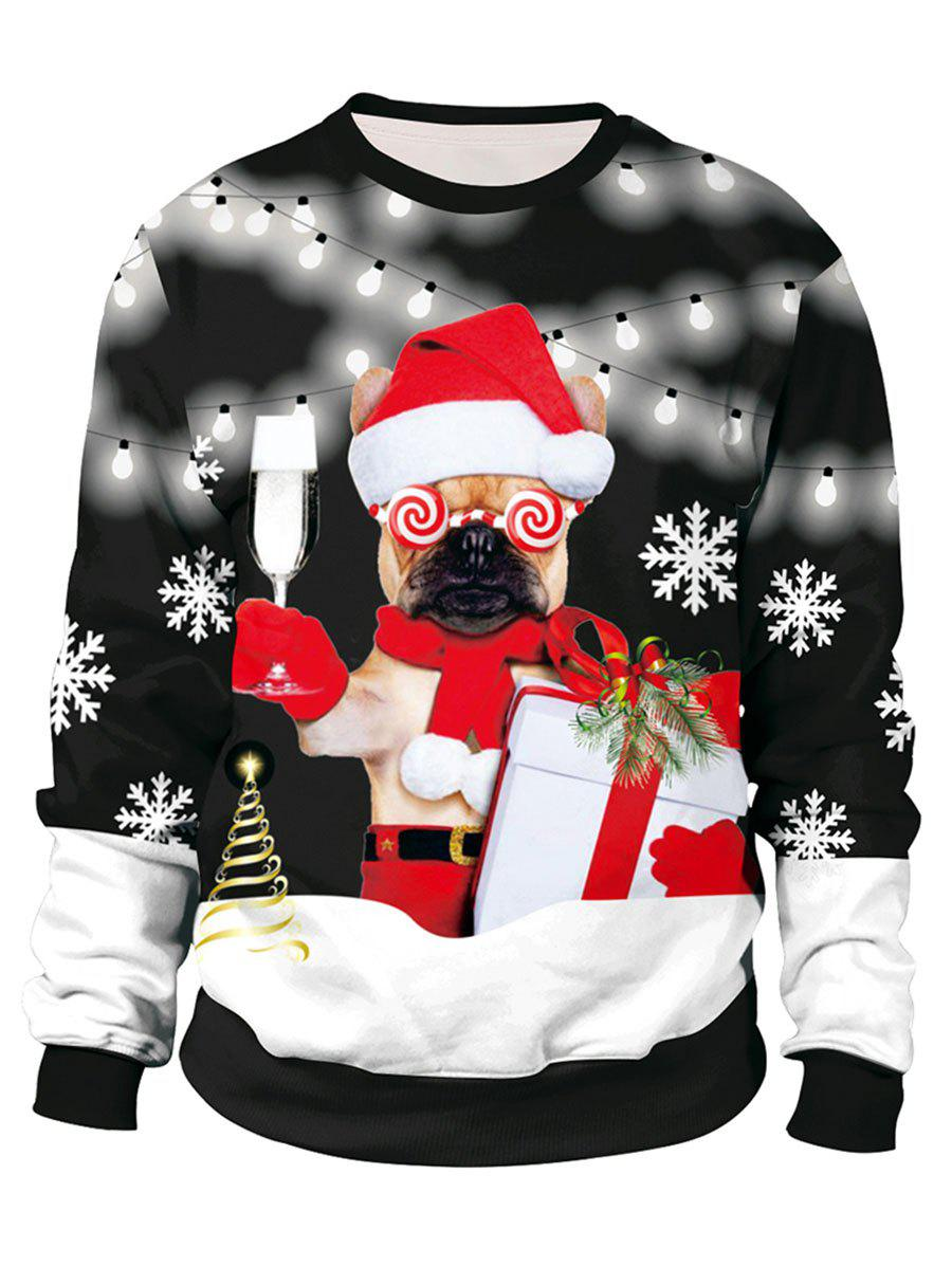 Christmas String Light Dog Elk Print Sweatshirt - BLACK M
