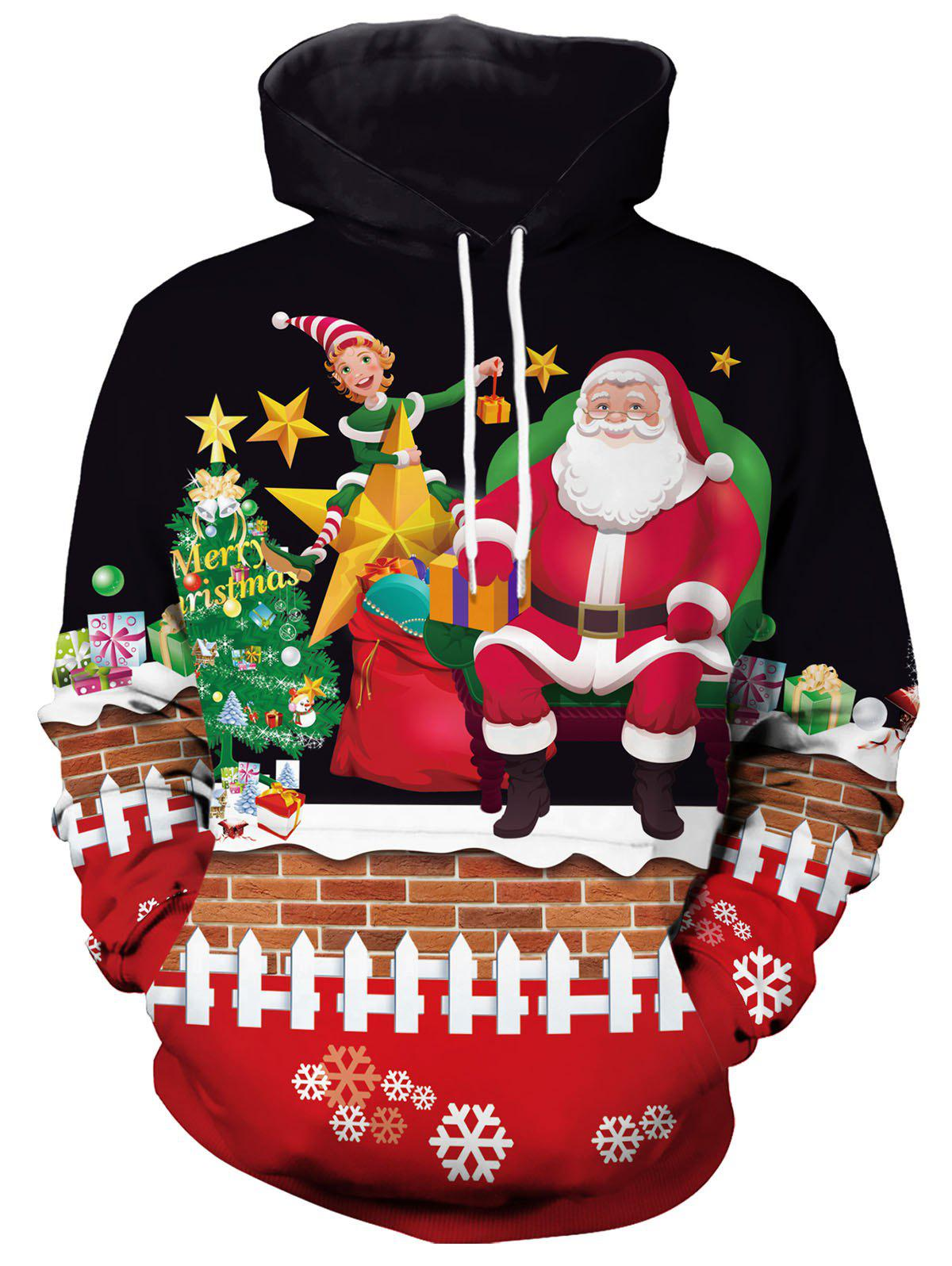 Santa Claus Christmas Pattern Hoodie - BLACK XXL