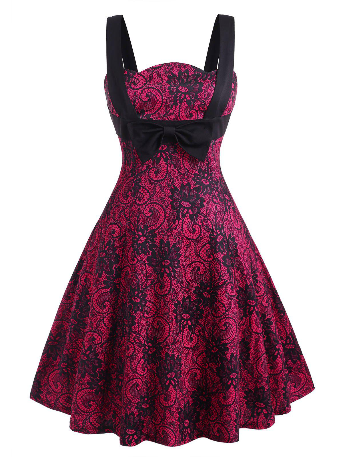 Printed Bowknot Straps Plus Size Vintage Dress - RED 4X