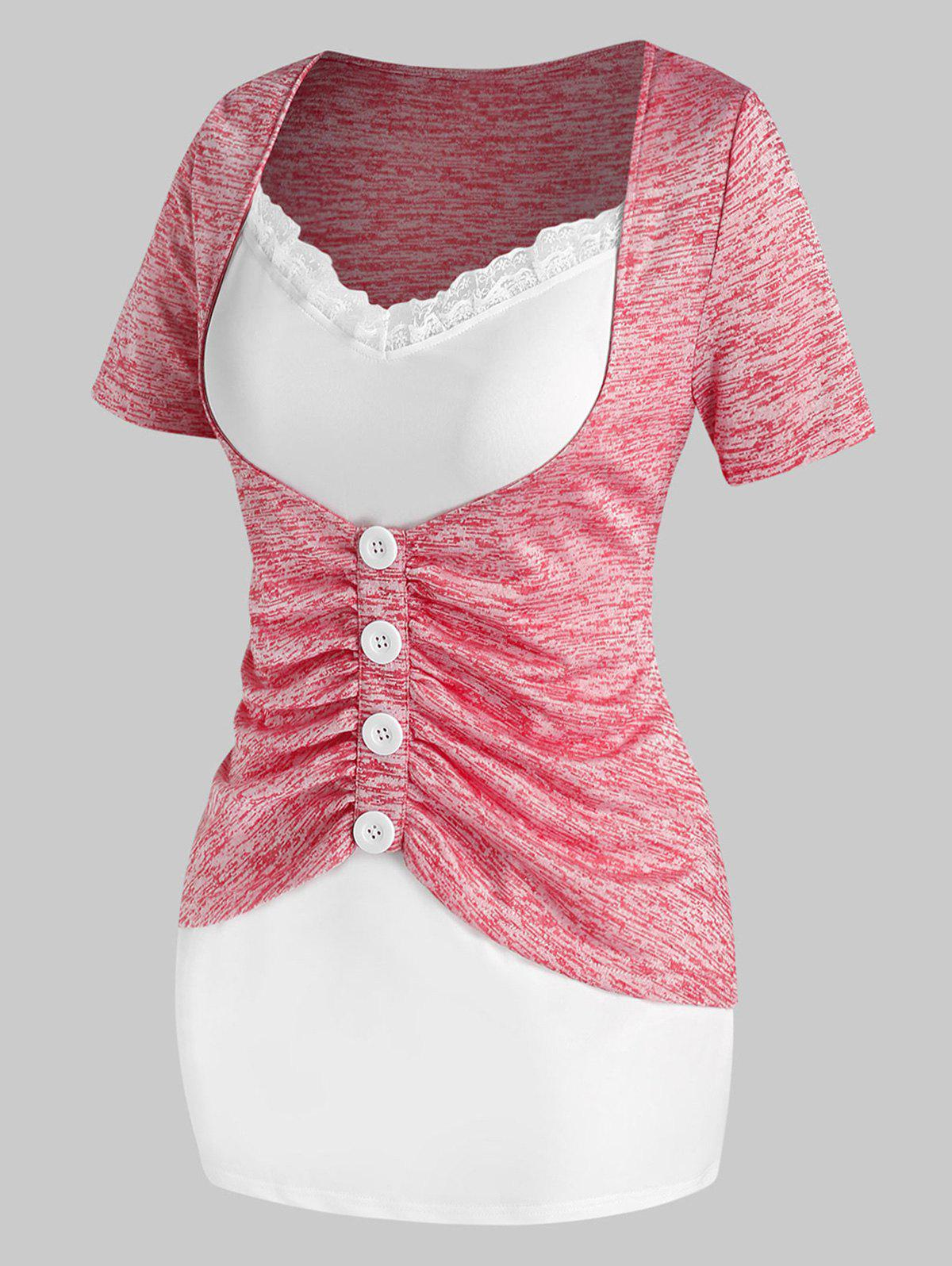Plus Size Mock Button Ruched Twofer T Shirt - BLUSH RED 5X
