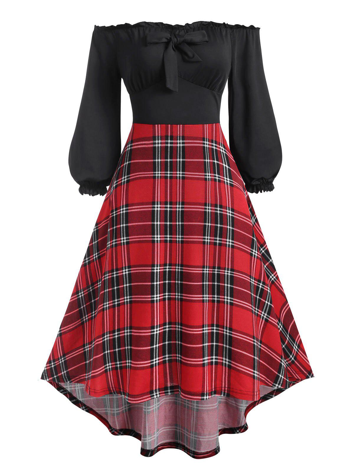 Off Shoulder Frilled Plaid High Low Jersey Dress - BLACK XL