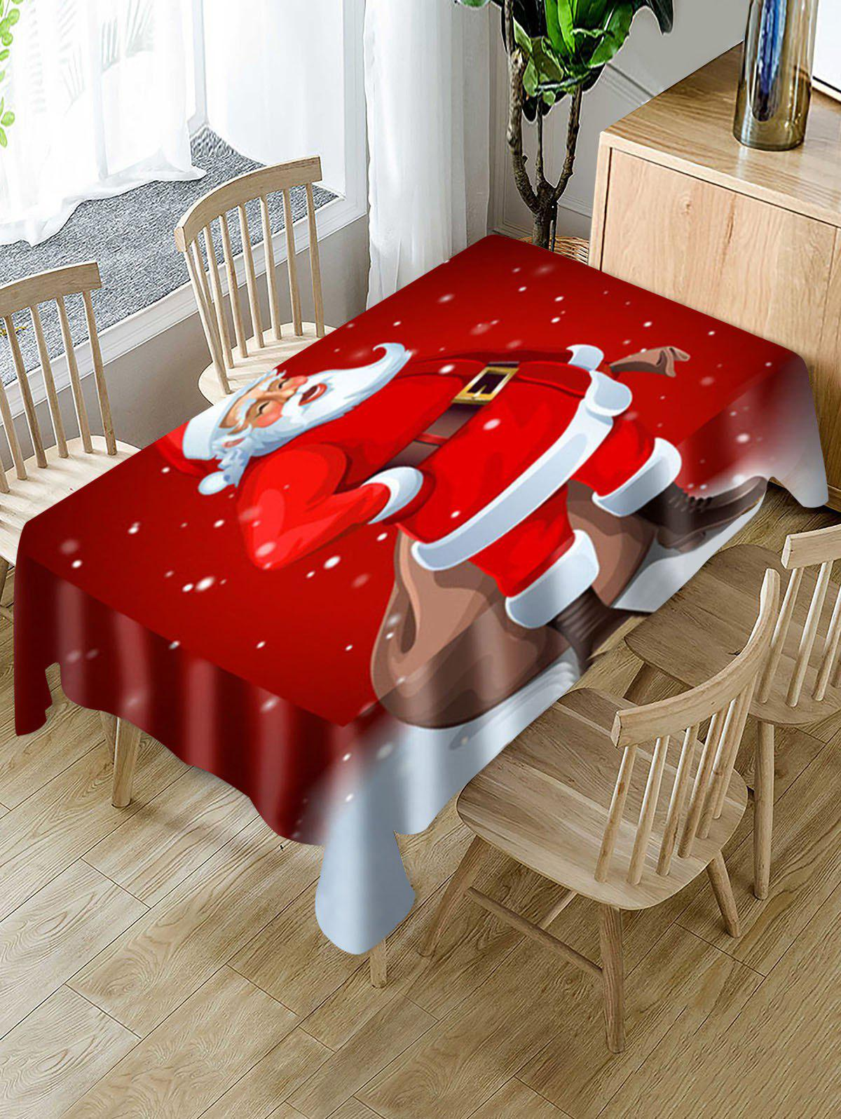 Santa Claus Digital Printing Waterproof Fabric Tablecloth - multicolor W55 X L71 INCH