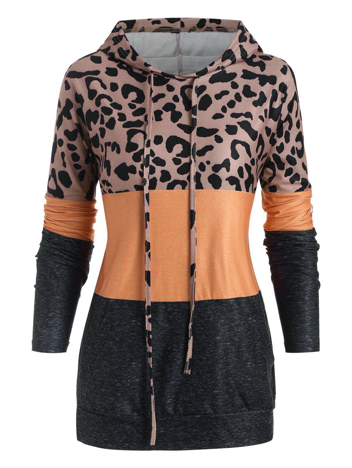 Front Pocket Leopard Colorblock Hoodie - COFFEE 3XL