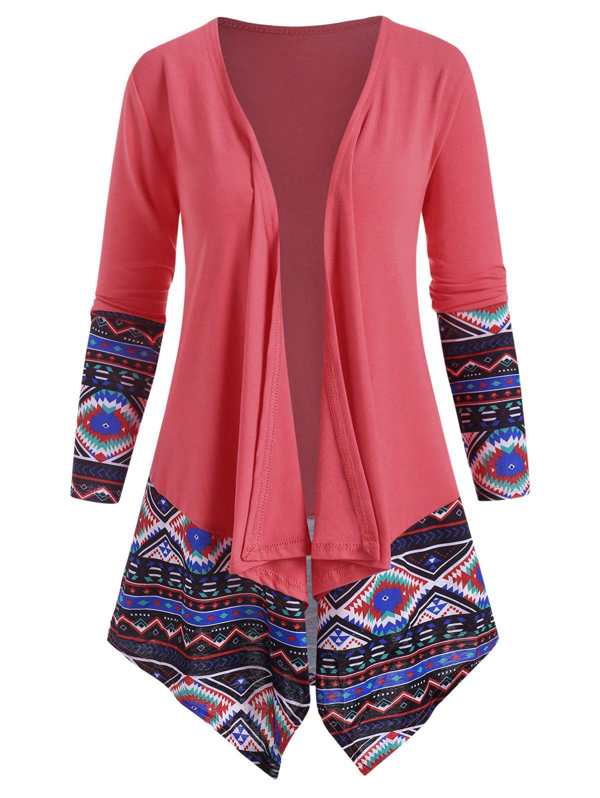Ethnic Printed Draped Front Jacket - LIGHT PINK M