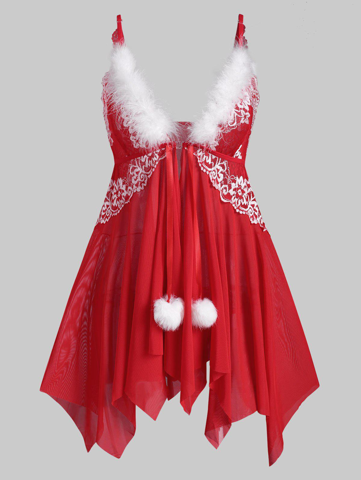 Christmas Lace and Mesh Feather Trim Front Closure Babydoll Set - RED M