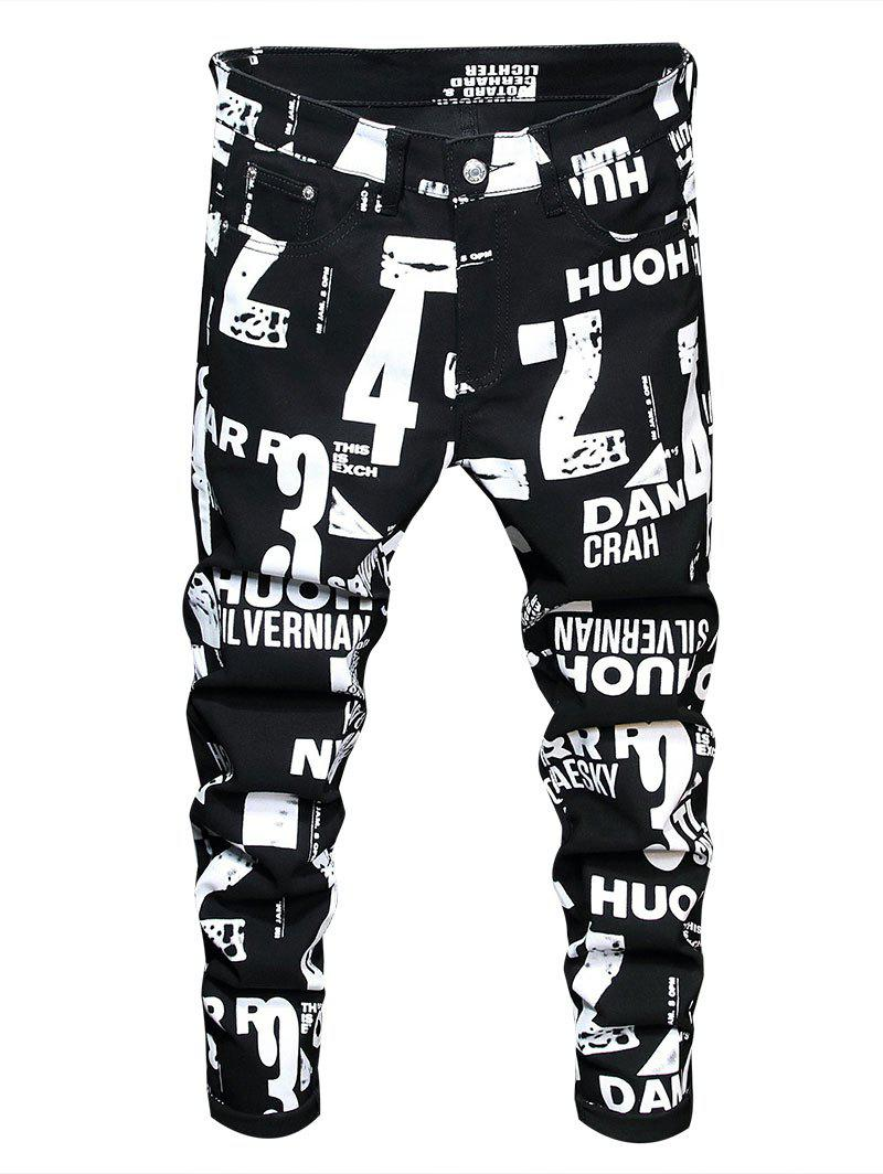Zip Fly Number Graphic Print Jeans - BLACK 36